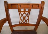 Set of Eight Yew Georgian Style Carver Armchairs